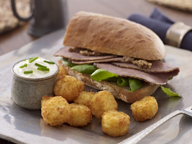 Roast Beef Ciabatta served with Hash Brown Bites